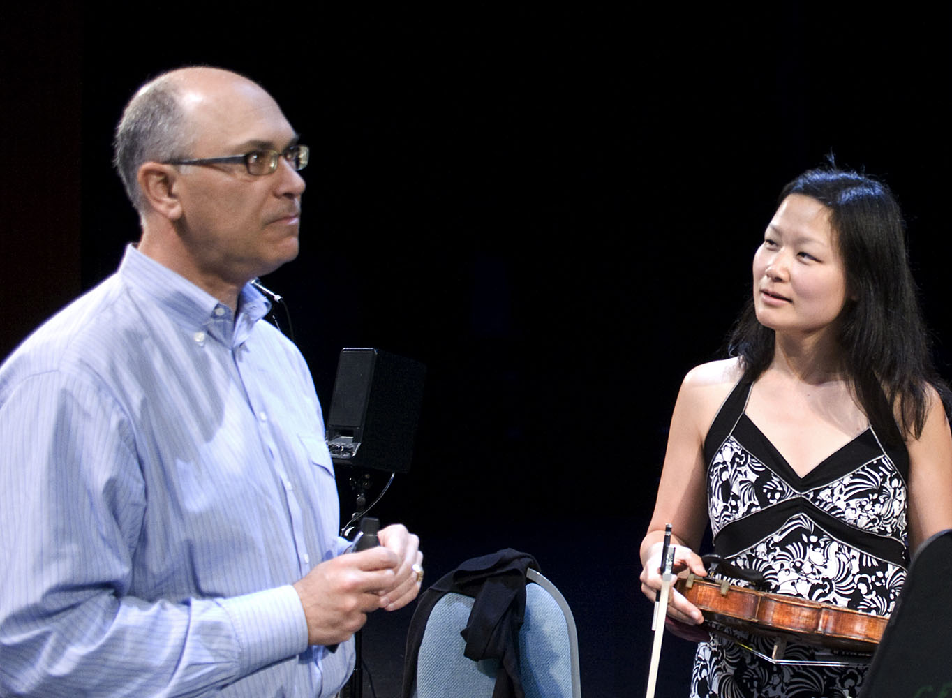 Composer David Felder Discussing His Piece Another Face With Violinist Lina Bahn  2