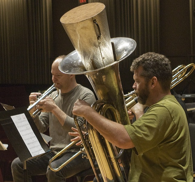 Trumpet Players Jon Nelson And Tim Leopold Horn Player Adam Unsworth Trombonist Benjamin Herrington And Tubist Raymond Stewart Of Slee Sinfonietta Performing David Felders Work Canzone Xxxi At June In Buffalo 2012  2