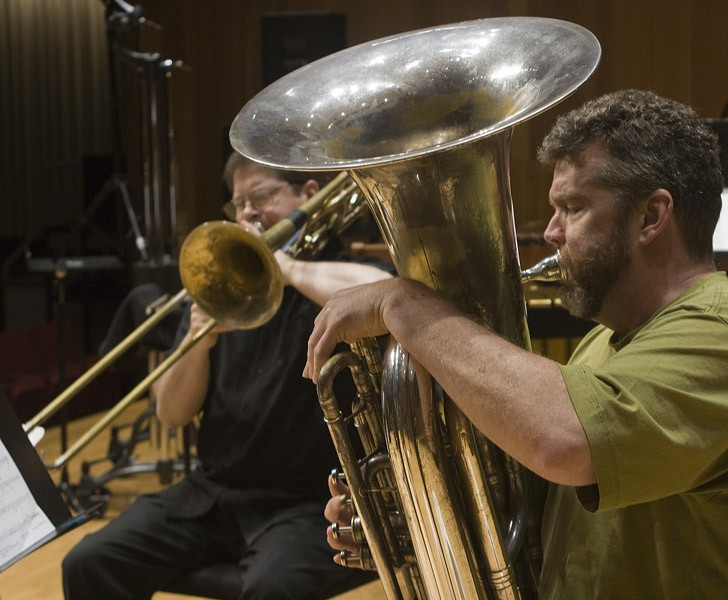 Trumpet Players Jon Nelson And Tim Leopold Horn Player Adam Unsworth Trombonist Benjamin Herrington And Tubist Raymond Stewart Of Slee Sinfonietta Performing David Felders Work Canzone Xxxi At June In Buffalo 2012  4